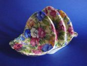 Rare Grimwades Royal Winton Art Deco 'Sweet Pea' Chintz Briar Toast Rack c1936